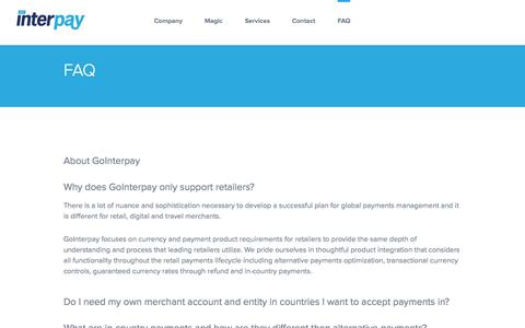 Screenshot of FAQ Page gointerpay.com - GoInterpay   Global Fraud Solutions   Payment Service Provider   PSP - captured Nov. 11, 2016