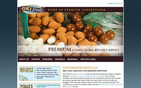 Screenshot of Home Page gkifoods.com - GKI Foods, LLC | Home of Premium Confections - captured Oct. 1, 2014