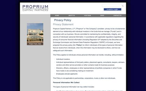 Screenshot of Privacy Page proprium.com - Privacy Policy | Proprium - captured Sept. 29, 2018