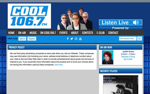 Screenshot of Privacy Page coolesthits.com - Privacy Policy - Cool 106.7FM - captured Oct. 26, 2018