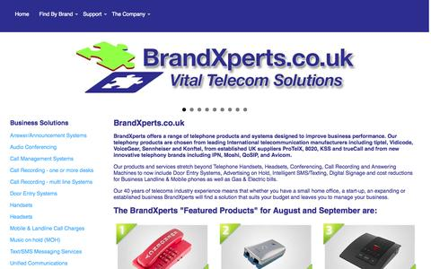 Screenshot of Home Page brandxperts.co.uk - brandXpert - Vital Telecom Solutions| Home Page - captured Oct. 1, 2014