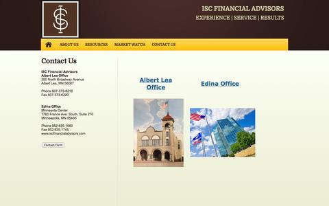 Screenshot of Locations Page iscfinancialadvisors.com - Locations - captured Sept. 30, 2014