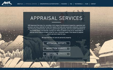 Screenshot of Services Page mirappraisal.com - Services | United States | MIR Appraisal Services - captured Oct. 1, 2018