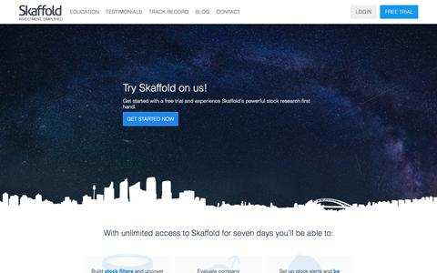 Screenshot of Trial Page skaffold.com - Get started with your free trial of Skaffold today. - captured Oct. 5, 2017