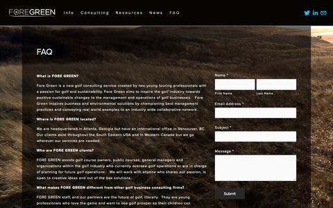 Screenshot of FAQ Page foregreen.com - FAQ — FORE GREEN - captured Nov. 6, 2018
