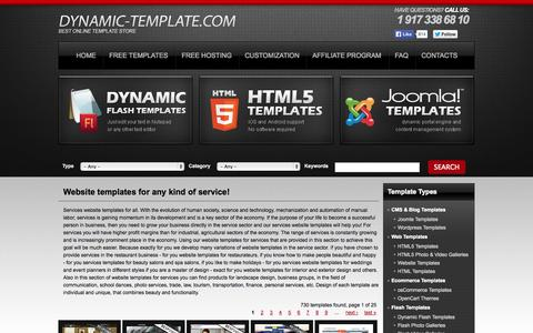 Screenshot of Services Page dynamic-template.com - Services Website Templates - captured Nov. 1, 2014