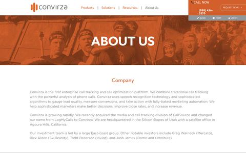Screenshot of About Page convirza.com - Your Enterprise Call Tracking Solution | Convirza - captured May 13, 2016