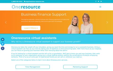 Screenshot of Home Page one-resource.com - Oneresource virtual assistants - captured June 16, 2019