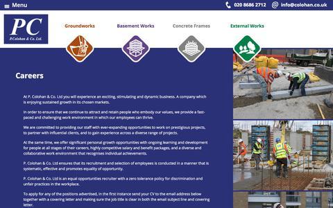 Screenshot of Jobs Page colohan.co.uk - Careers   P. Colohan & Co Ltd. - captured July 7, 2017