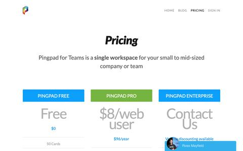 Screenshot of Pricing Page pingpad.net - Pricing — Pingpad - Collaborative Product Discovery - captured Feb. 14, 2019