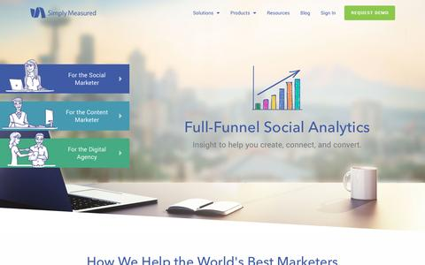 Screenshot of Home Page simplymeasured.com - The Complete Social Analytics Solution | Simply Measured - captured April 4, 2017