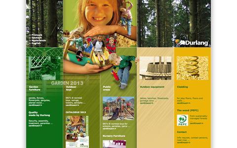 Screenshot of Home Page durlang.be - Durlang - Aménagement jardin et jeux pour enfants, lieux publics, mobilier urbain en bois - Belgique - captured Oct. 4, 2014
