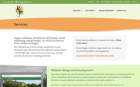 Screenshot of Services Page kjanstudio.com - Services | KJanStudio - captured Sept. 20, 2018