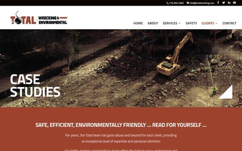 Screenshot of Case Studies Page totalwrecking.com - Case Studies - Total Wrecking & Environmental - National Demolition Contractor - captured Nov. 8, 2017