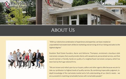 Screenshot of About Page excelsiorrealestate.com - About Us | Excelsior Real Estate - captured May 22, 2017