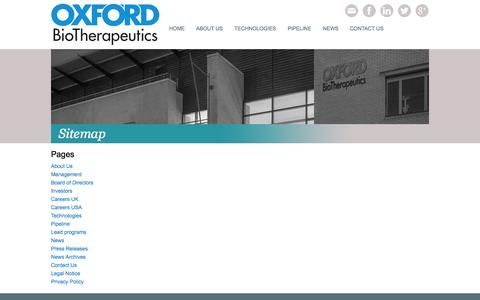 Screenshot of Site Map Page oxfordbiotherapeutics.com - Oxford BioTherapeutics | Sitemap - captured Sept. 26, 2014