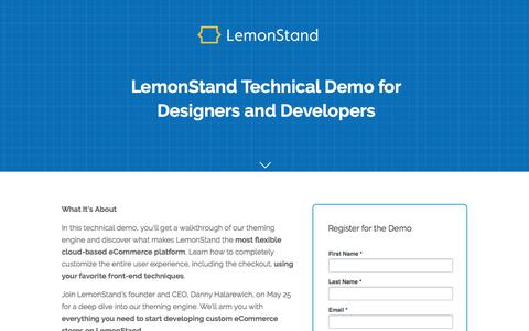 Screenshot of Landing Page lemonstand.com - LemonStand Developer Demo: Tap into Unlimited Design Flexibility - captured Oct. 29, 2016