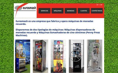 Screenshot of Home Page eurosmash.com - Eurosmash Machines⎜Penny Press Machines⎜Monedas Recuerdo⎜Barcelona - captured Sept. 30, 2014