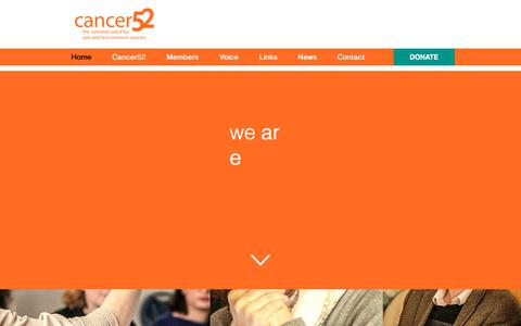 Screenshot of Home Page cancer52.org.uk - Cancer52 | The common voice for rare and less common cancers - captured July 15, 2018