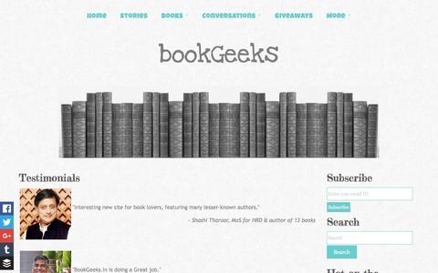 Screenshot of Testimonials Page bookgeeks.in - Testimonials | Book Geeks - captured Jan. 6, 2016