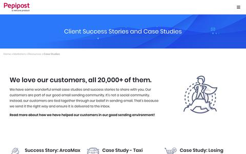 Screenshot of Case Studies Page pepipost.com - Email Case Studies and Client Success Stories | Pepipost - captured Dec. 5, 2018