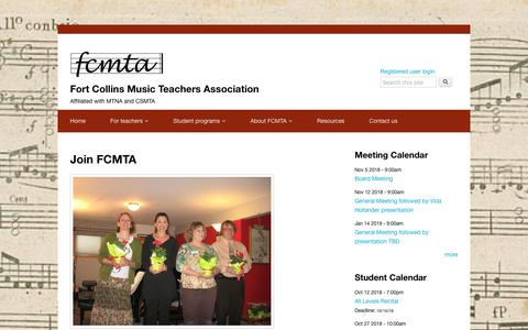Screenshot of Signup Page fcmta.org - Join FCMTA | Fort Collins Music Teachers Association - captured Oct. 10, 2018