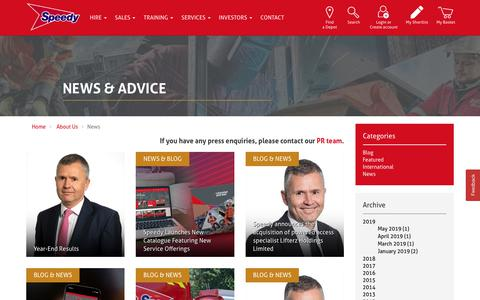 Screenshot of Press Page speedyservices.com - News and Advice | Speedy Services News - captured Aug. 15, 2019