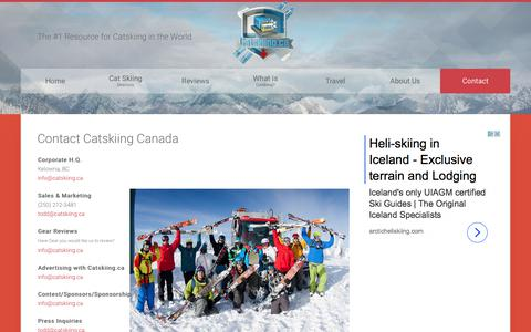 Screenshot of Contact Page catskiingcanada.ca - Contact Catskiing Canada - Catskiing Canada - Cat Skiing - captured Sept. 19, 2017