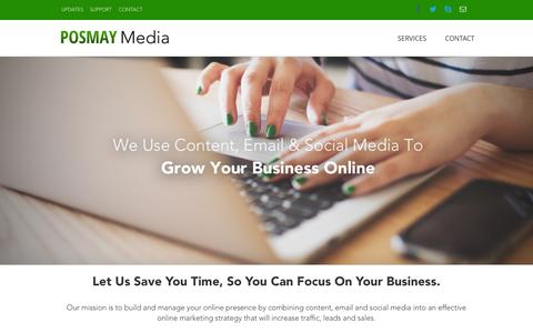 Screenshot of Home Page Services Page posmaymedia.com - Welcome - Posmay Media - captured July 3, 2015
