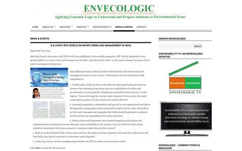 Screenshot of Press Page envecologic.com - News & Events   - captured Oct. 3, 2014