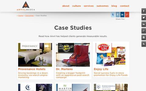 Screenshot of Case Studies Page anvilmediainc.com - Digital Marketing Case Studies   Anvil Media Inc. - captured Oct. 10, 2014