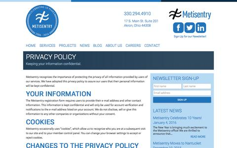 Screenshot of Privacy Page metisentry.com - Privacy Policy for Metisentry, a Web Development firm in Akron, Ohio - captured Jan. 10, 2016