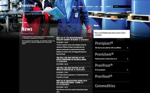 Screenshot of Press Page proviron.com - News | Proviron - captured Sept. 30, 2014