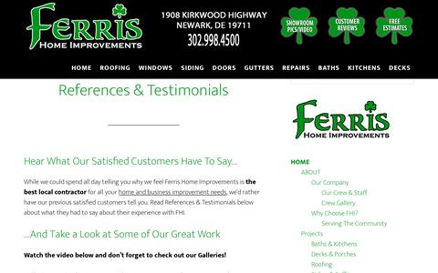 Screenshot of Testimonials Page ferrishomeimprovements.com - References & Testimonials - Hear What Satisfied Customers Have To Say - captured Oct. 13, 2017
