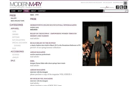 Screenshot of Press Page modernmary.com - Interviews, Photos, Articles |  modest fashions hitting the runways and the muslim designer behind Modern Mary - captured Oct. 9, 2014