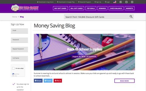 Screenshot of Blog giftcardgranny.com - Money Saving Tips From Gift Card Granny - captured Aug. 23, 2016