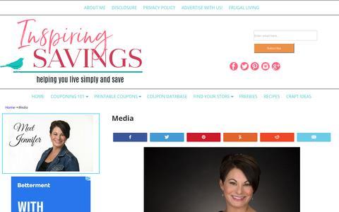 Screenshot of Press Page inspiringsavings.com - See Jen From Inspiring Savings In the Media - captured Oct. 11, 2018