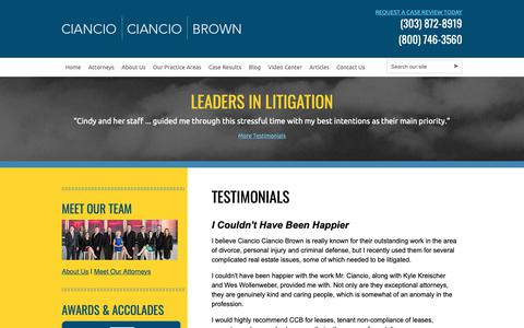 Screenshot of Testimonials Page colo-law.com - Colorado Client Testimonials | Ciancio Ciancio Brown, P.C. - captured Sept. 28, 2018