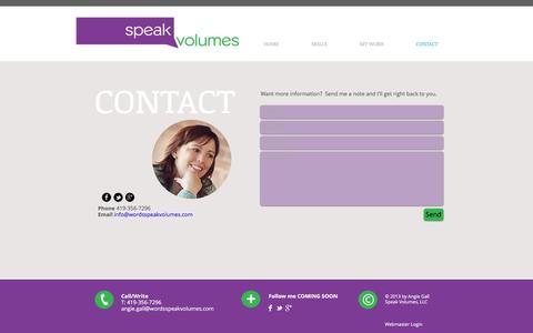 Screenshot of Contact Page wordsspeakvolumes.com - Contact Me - captured Dec. 1, 2016