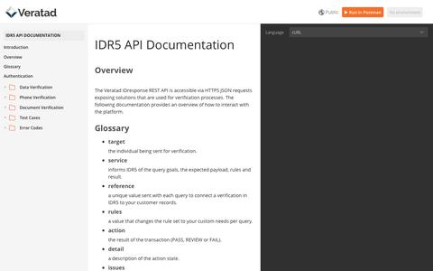 Screenshot of Developers Page veratad.com - IDR5 API Documentation - captured May 30, 2019