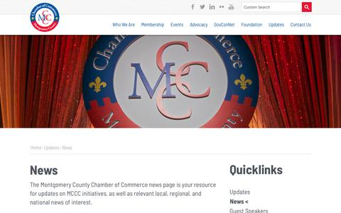 Screenshot of Press Page mcccmd.com - News |  | Montgomery County Chamber of Commerce | Rockville, MD - captured Oct. 19, 2018