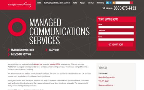 Screenshot of Services Page managedcomms.co.uk - Managed Communications Services - captured Sept. 30, 2014