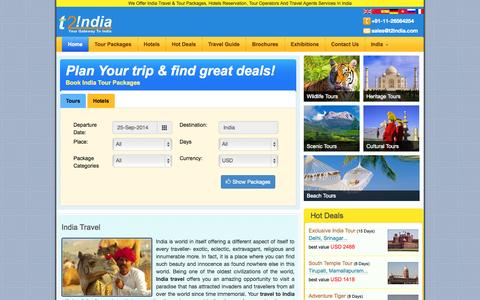 Screenshot of Home Page t2india.com - Travel to India - Travel Agency in India, Tour Agency in India - captured Sept. 23, 2014