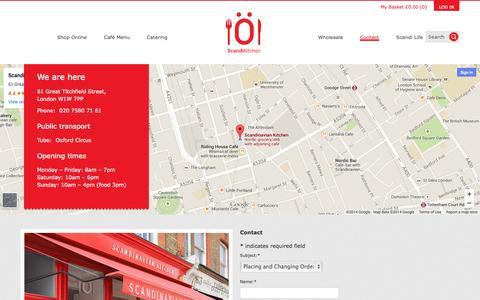Screenshot of Contact Page scandikitchen.co.uk - Contact - ScandiKitchen - captured Oct. 31, 2014