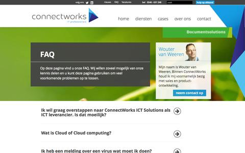 Screenshot of FAQ Page connectworks.nl - FAQ | Connectworks - captured Oct. 2, 2014