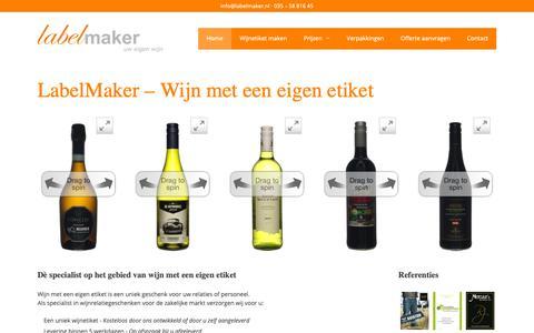 Screenshot of Home Page labelmaker.nl - LabelMaker · Wijn met eigen etiket voor de zakelijke markt - captured Sept. 26, 2018