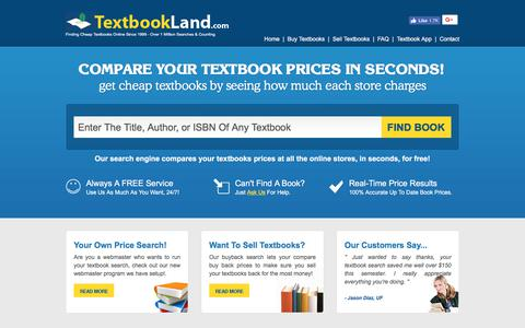 Screenshot of Home Page textbookland.com - Buy Cheap College Textbooks | Compare Textbook Prices | Textbook Land - captured July 8, 2018