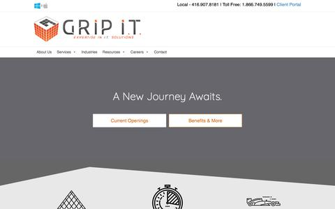 Screenshot of Jobs Page gripit.ca - GRIP IT | CAREERS - GRIP I.T. - captured July 19, 2019