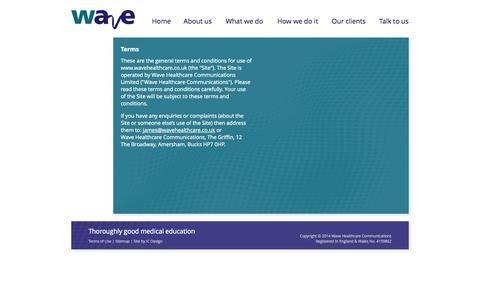 Screenshot of Terms Page wavehealthcare.co.uk - Wave Healthcare Communications - captured Oct. 7, 2014