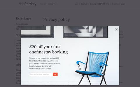 Screenshot of Privacy Page onefinestay.com - Privacy policy | onefinestay - captured Aug. 28, 2016